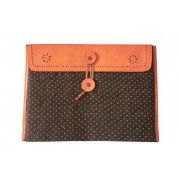 Keep your Notebook IPad Safe in this Deep Orange and Delicate Printed Leather Mashru Folder