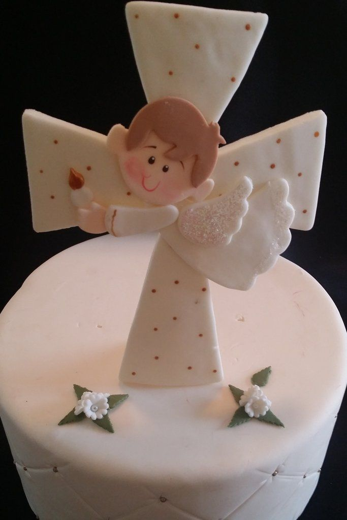 Angel On Cross Cake Topper, Baptism Cross Cake Toppers, Girls Baptism, First Communion Girl, First Communion Decorations, Baptism Cake Decorations - Cake Toppers Boutique  - 7