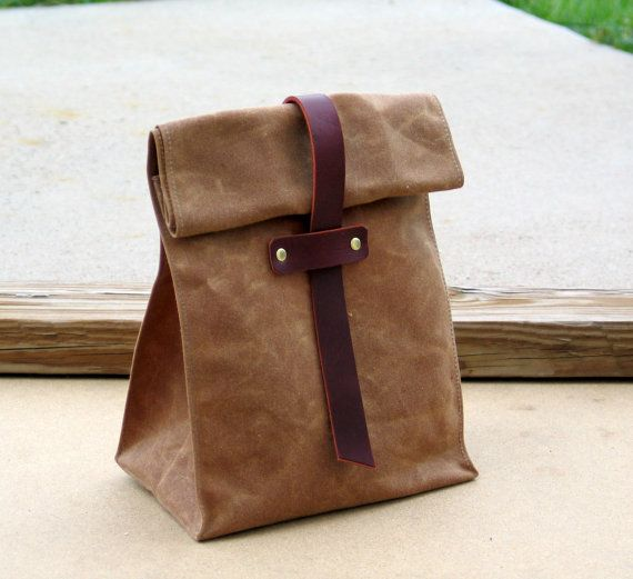 Waxed Canvas and Leather Lunch Tote Waxed Canvas Lunch by Zakken, $39.50