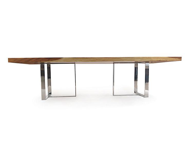 rotsen furniture single slab stainless steel. tamburil straight edge wood slab u0026 stainless steel dining table 01jpg 2000 rotsen furniture single