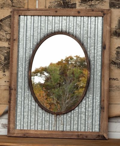 """Tin Roof Farmhouse Mirror-Corrugated metal frames this mirror, adding just the right amount of FARM.HOUSE.SWAG.!And that beautiful face that will be smiling back at you... well that makes it absolutely perfect.25.5"""" x 23""""Pine Frame, Mirror, Corrugated Metl"""