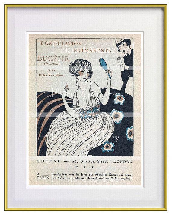 Art Deco Print Ads French Hair Salon Advertisements Paris Vintage ...