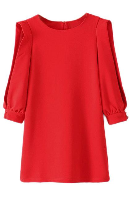 ROMWE Cut-out Half Puff Sleeves Red Shift Dress 34.99