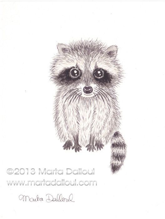 "Cute Baby Racoon Original Watercolor Art 4.5"" x 6"" by 'MartaDalloul' $39.00 on ETSY<3<3ADORABLE<3<3"