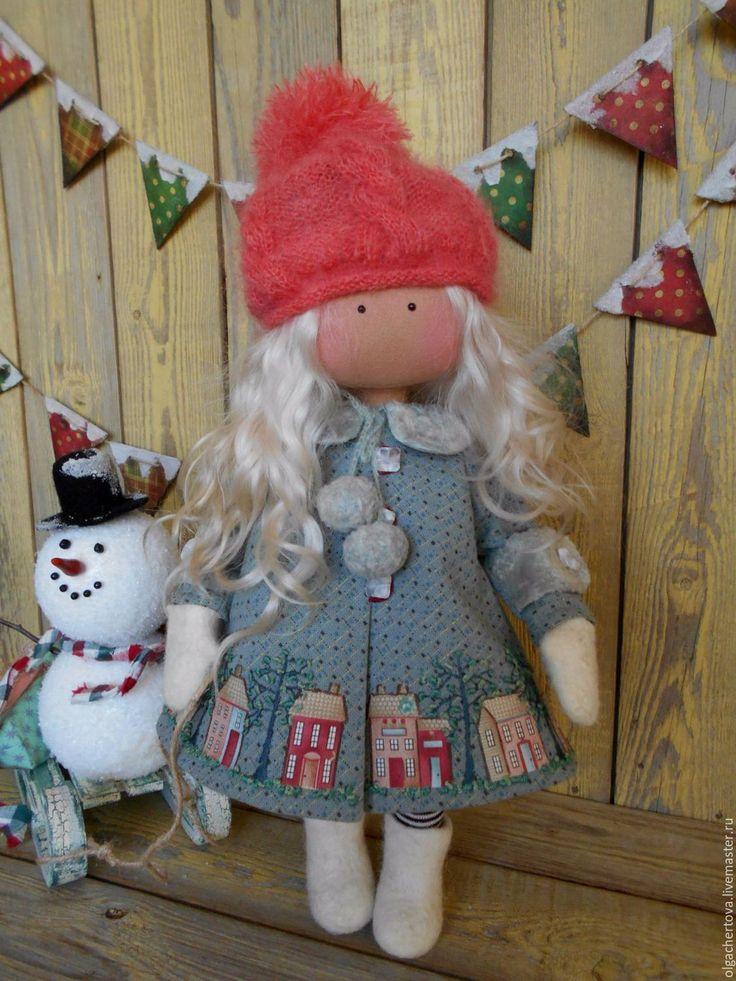 Купить Малышка в пальтишке (снежинка) - комбинированный, кукла в пальто, Кукла в платье, кукла ручной работы