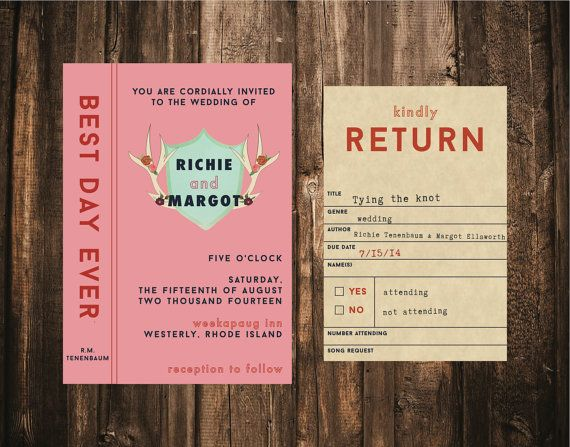 Wes Anderson Styled Library Wedding Invitation by blacklabstudio, $55.00