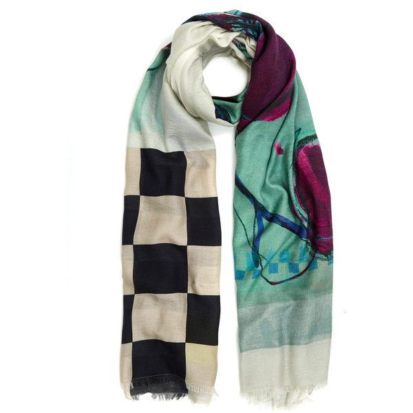 Rohka Green Berry Check Cashmere-Blend Scarf ($370) ❤ liked on Polyvore featuring accessories, scarves, green shawl, green scarves, patterned scarves, print scarves and oversized scarves