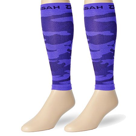 Electric purple camo compression leg sleeves to match with any running outfit