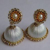Jewellery | Silk Thread | White Jhumka - Small | CardsNCrafts