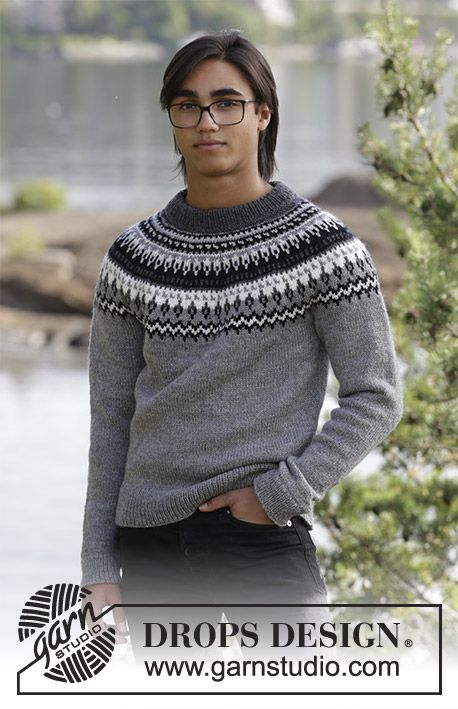 Dalvik / DROPS 185-1 - The set consists of: Men's knitted jumper with raglan, round yoke and multi-coloured Nordic pattern and knitted hat with multi-coloured Nordic pattern. Sizes S - XXXL. The piece is worked in DROPS Karisma.