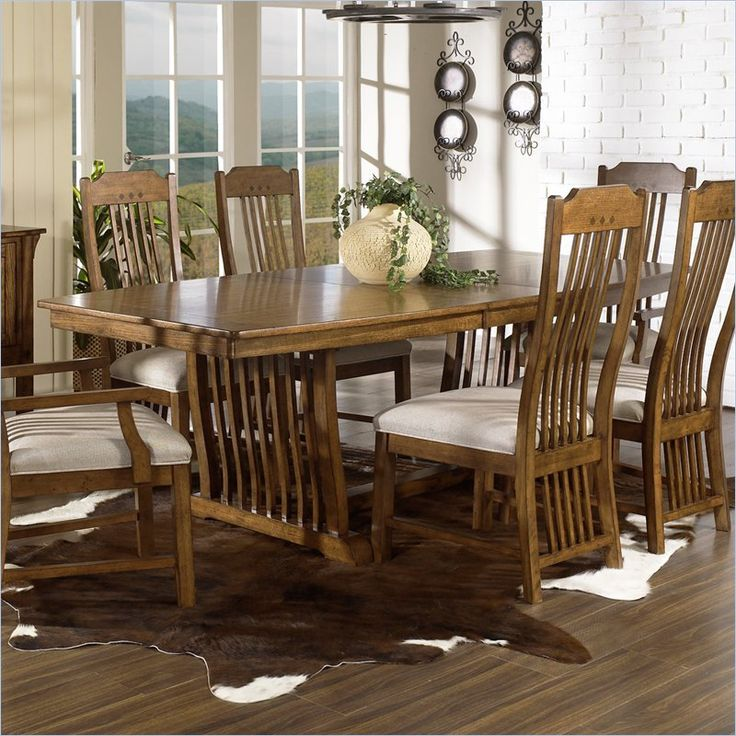 Somerton Dwelling Craftsman Mission 7 Piece Dining Set in Brown Finish - 417-62DT-31-PKG2 - Lowest price online on all Somerton Dwelling Craftsman Mission 7 Piece Dining Set in Brown Finish - 417-62DT-31-PKG2