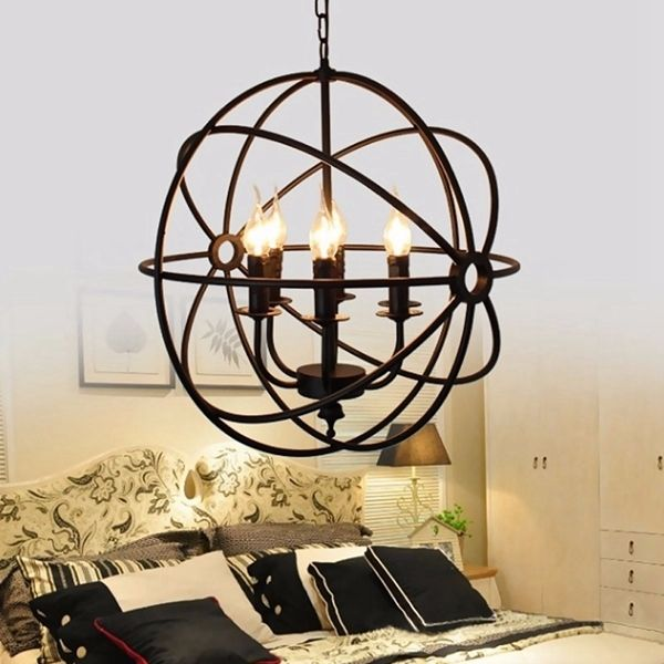 Modern Industrial Chandelier 6 Light Hanging Fixture Round Ball Cage Pendant