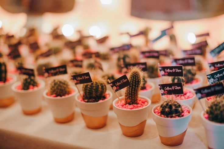 How cute are these mini cacti wedding favours? The gold-dipped pots and bright pink stones add a fun touch.