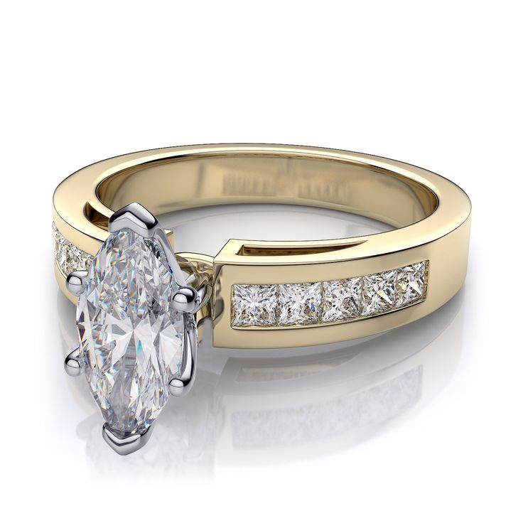 Classic Yellow Gold Channel Set Marquise Shape Diamond Engagement Ring Has Ten VS Clarity G H Color Perfectly Princess Cut Diamonds Five On Each Side