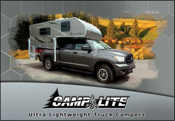 """Camplite Ultra Lightweight Truck Campers - aluminum  - * Obviously, the """"entire"""" camper is not aluminum. The vast majority of the main construction components of this camper are made of aluminum and composites, which backs up our claim of being 98% recyclable. There are steps and stabilizer jacks made of steel; composite wall and ceiling boards; and plastics used in trim, tanks and bath areas."""