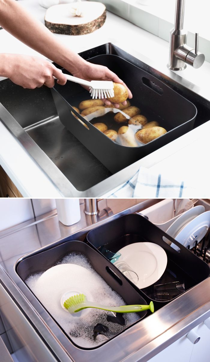 The BOHOLMEN rinsing tub helps you to conserve water while washing dishes or rinsing produce.