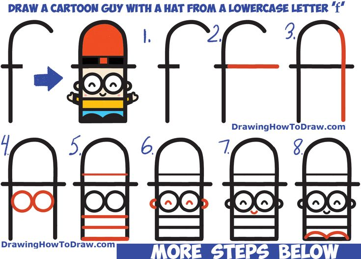 how to draw cartoon guy with hat from lowercase letter f easy step by - Cartoon Kids Drawing