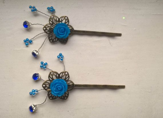 Blue Hair Pins Rhinestone hair pins beaded hair by Glitterperlen