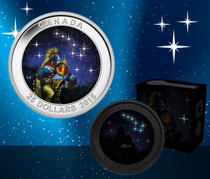 2014 $25 Fine Silver Coin - The Star Charts Series (Quest). Many First Nations legends describe the Big Dipper as a great bear who is chased by three hunters. Read about the legend of the big dipper : http://ow.ly/BvEx4
