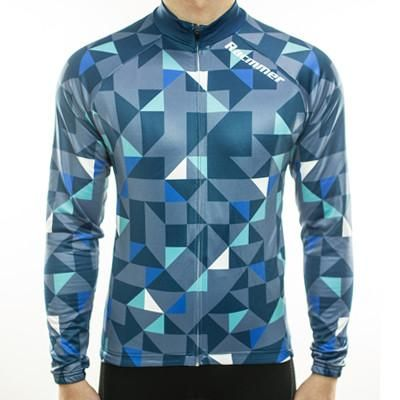 Polygon Patterned Long Sleeve Cycling Jersey