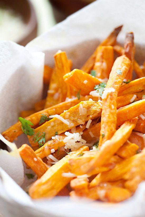 Parmesan Sweet Potato Fries #recipe #comfortfood