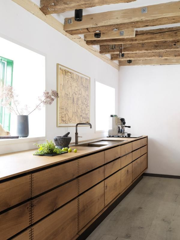 A Beautiful Kitchen Design By Gardehvalsoe, Using Dinesen HeartOak, For  Both The Kitchen Cabinets And The Flooring, The Kitchen Sink Is Burnished  Brass.