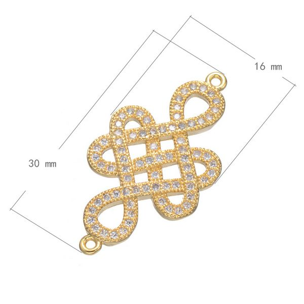 2016 New Design Jewelry Accessory Gold Zircon Chinese Knot Pendant For Jewelry Making
