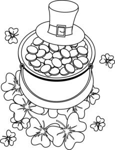 Coloring Page Clipart Image: Hat and Pot of Gold St Patrick's Day Coloring Page
