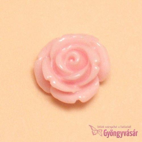 Rózsaszín, 14 mm-es fűzhető rózsa - műgyanta gyöngy • Gyöngyvásár.hu