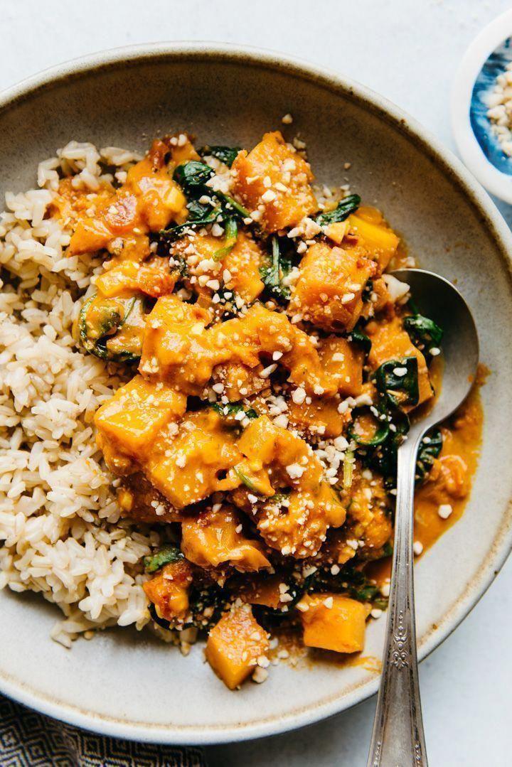 Vegan Butternut Squash Curry With Spinach Rezept Leckere Vegetarische Rezepte Rezepte Kurbis Rezept Vegan