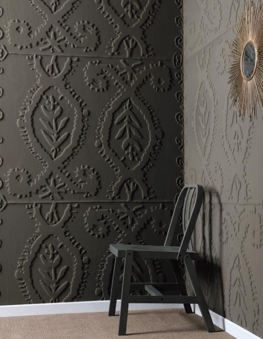FABRIC FRIDAY: On Tuesday, we showed you how to correctly install wallcoverings and today, we're spotlighting one that's sure to make a statement. Alliances by Elitis is produced by layering a jersey material over a foam-core sheet and then thermo-embossed. The result is a bas-relief pattern, which adds dimension to any room.