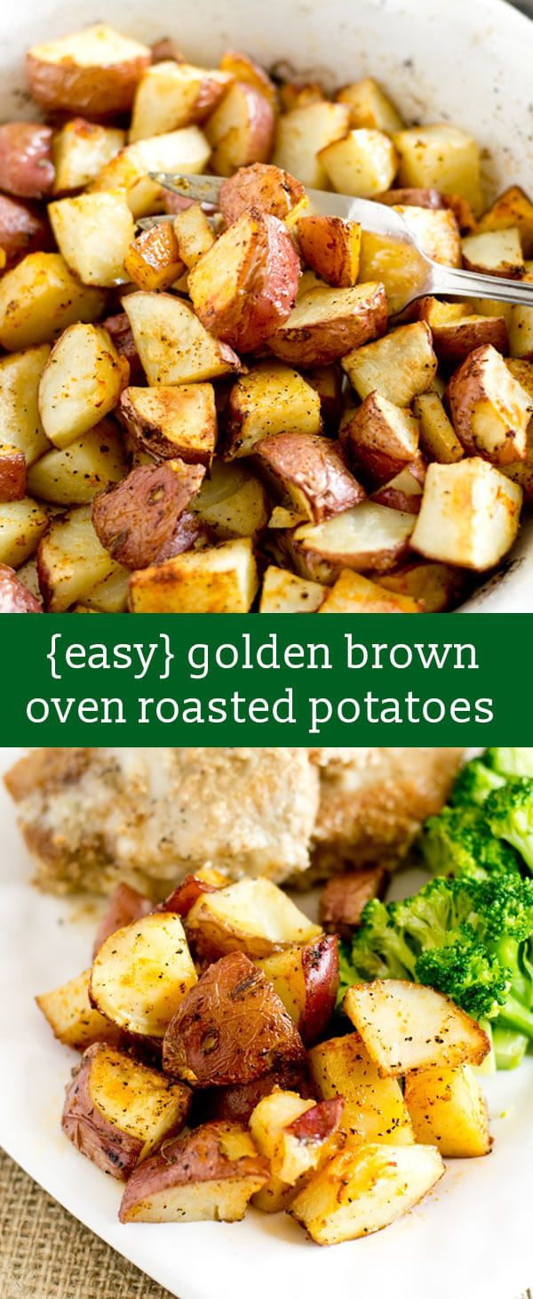easy oven roasted potatoes recipe / hints for golden brown potatoes / easy side dish recipe / whole30 side dish / healthy side dish / red via @tastesoflizzyt