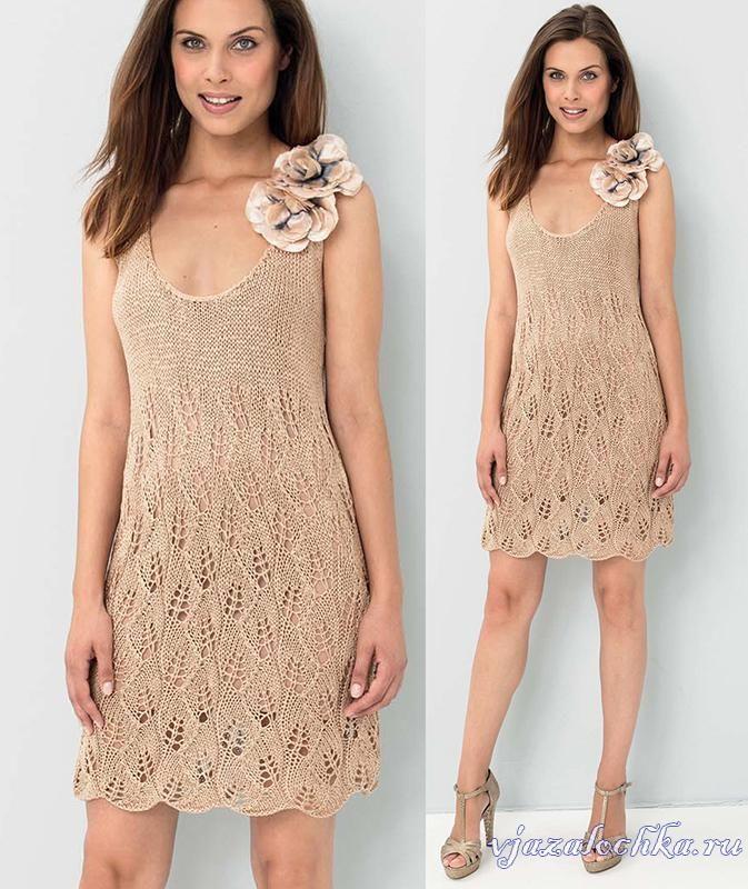 Мини - платье спицами, описание: