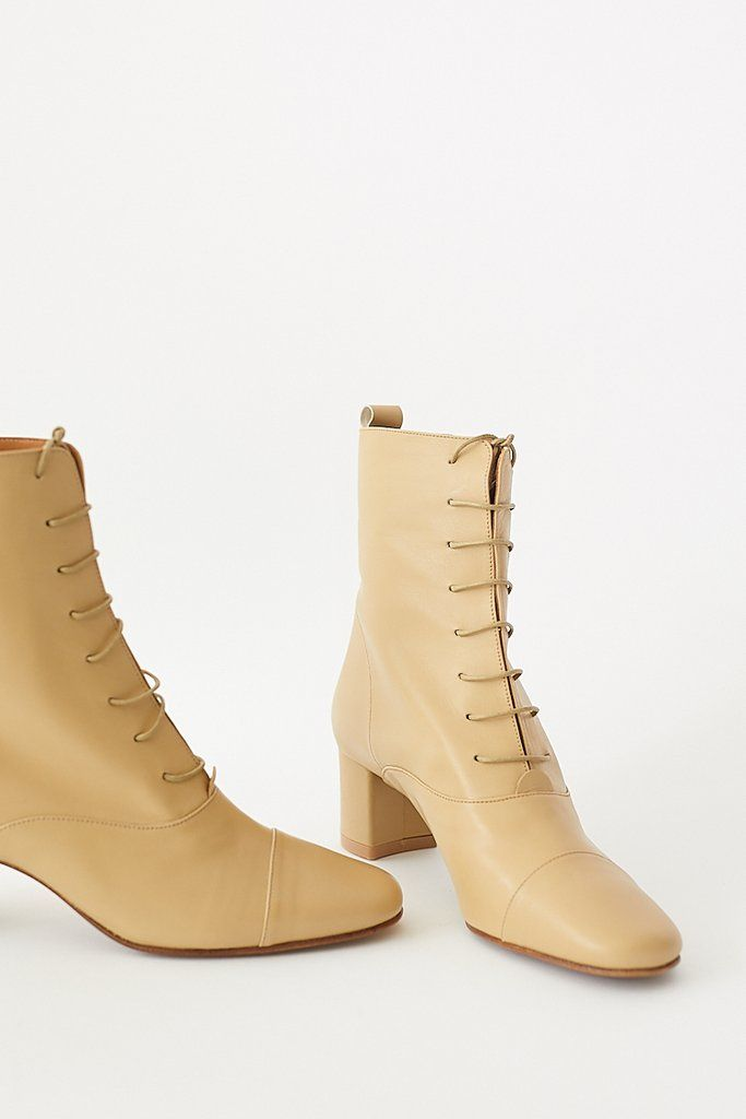 lace up cream boots