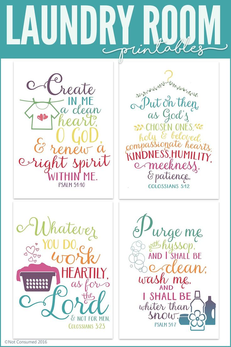 Every laundry room should be lovely. Grab these FREE laundry room printables. The pack includes 4 Bible verses and a how to chart for the kiddos.