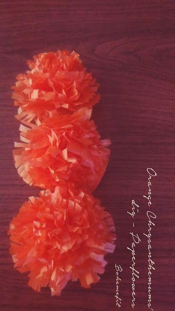 ✧☽ Paperflowers 'Orange Chrysanthemums' ☾✧ #Bohemefit #diy