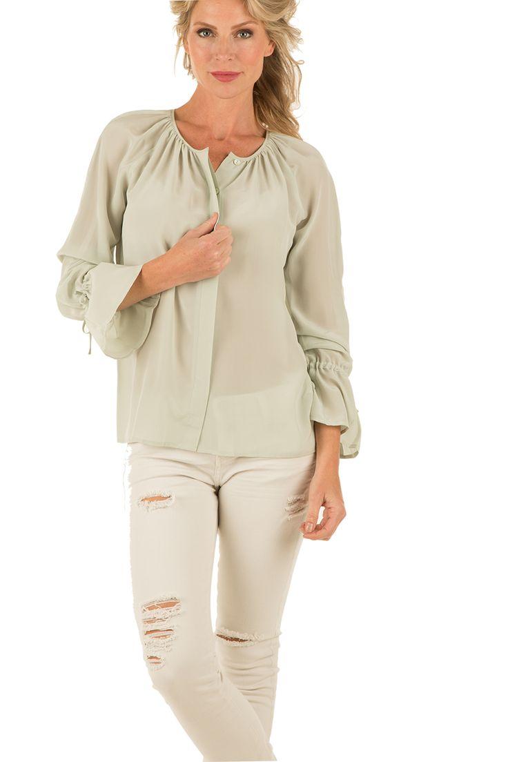 Zijden blouse Mila | lichtgroen