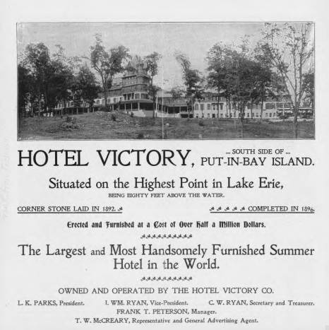 Hotel Victory Brochure Put In Bay Island Lake Erie Ohio Memory Collection