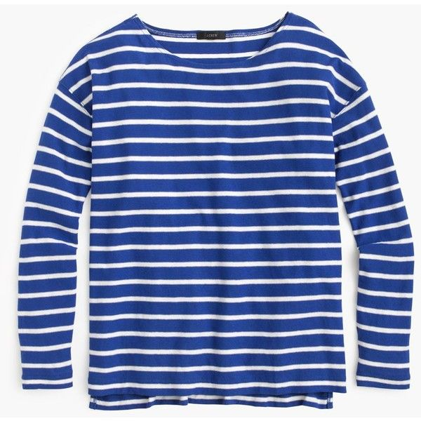J.Crew Deck-Striped T-Shirt ($46) ❤ liked on Polyvore featuring tops, t-shirts, long sleeves, shirts, tops/outerwear, t shirts, long sleeve cotton shirt, long sleeve tee, cotton t shirt and loose t shirt