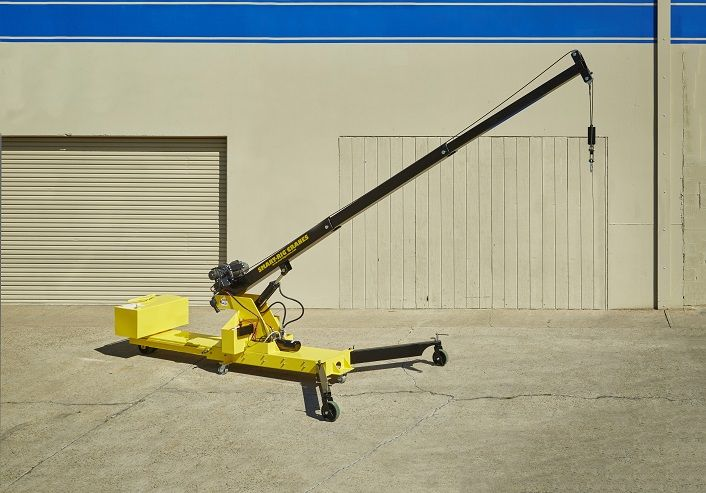 Microcranes, Inc. S1 Model battery powered mini crane expanded.