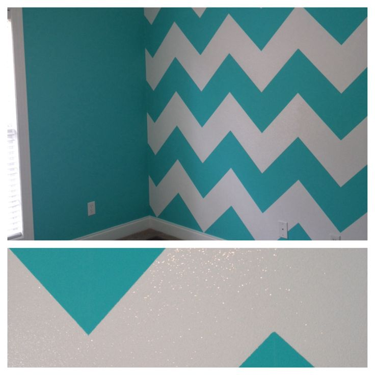 My daughter's room...my husband painted Chevron stripes with glitter on one  wall