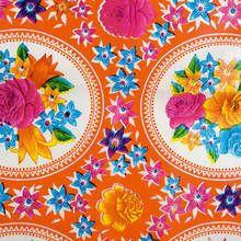Kitsch Kitchen Oilcloth - Rosario Orange Madder and Rouge