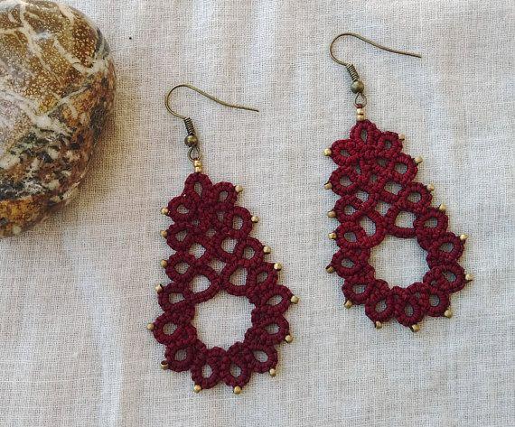 Tatted wine red lace earrings  lace jewelry  boho earrings