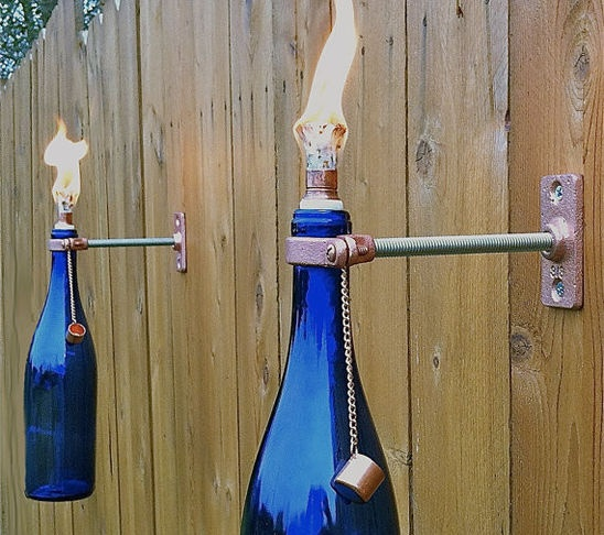 Cobalt Blue Wine Bottle Tiki Torches by Great Bottles of Fire