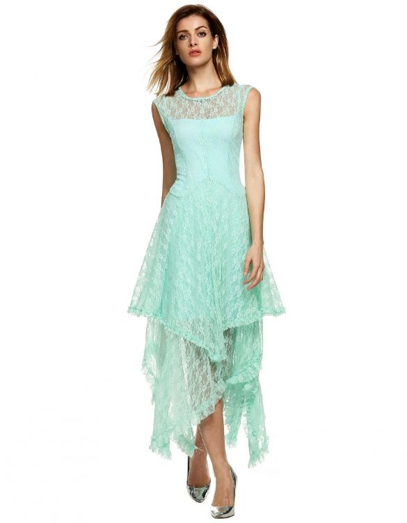 Womens Sheer Lace Double Layered Hollow Out Evening Backless Long Dress Beach Overall w/ Strap Dress