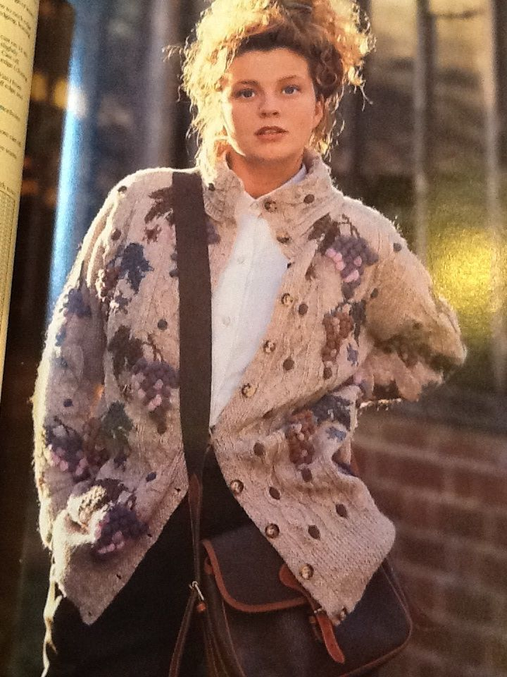 This cardigan has 3D grapes on it! Susan Duckworth's Knitting, 1988