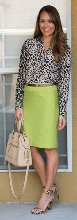 Citrus and leopard outfit - I wouldn't have thought to put the two together, but I'm loving it...