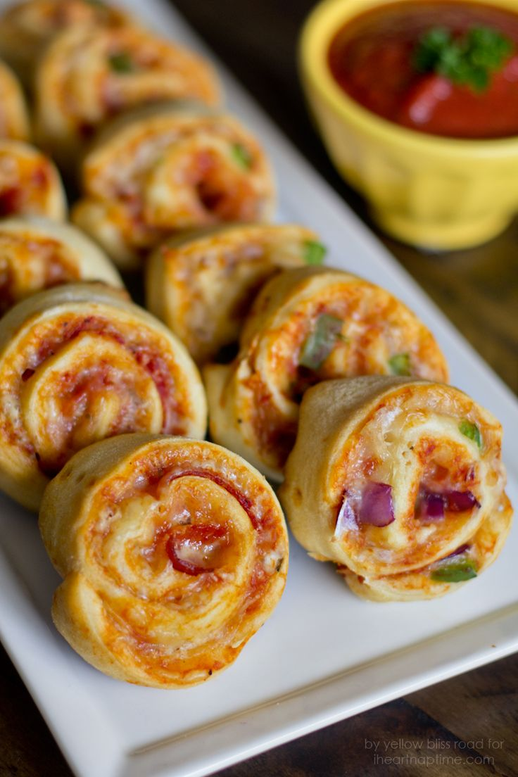 Easy Pizza Pinwheels on iheartnaptime.com1 can Refrigerated Crescents (or Pizza Dough)  1/4 cup pizza sauce or marinara  3/4 cup shredded Mozzarella Cheese  Pizza toppings of your choice
