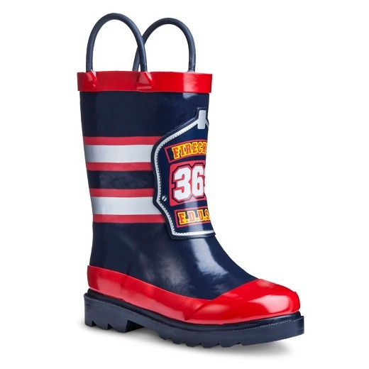For exciting outdoor play no matter what the weather, the Toddler Boy's Fireman Rain Boots in Navy give him protection so he can continue to play and explore. The rubber bottom protects little feet from cold and precipitation so you can count on them being a highlight when the weather turns glum. Not only will the function of these great boys rain boots be a hit but the Fireman print is a surefire success. The pull-on straps let him pull them on himself and stretch his independence. D...