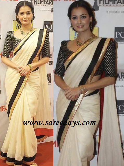 Diya mirza in designer white anamika khanna saree
